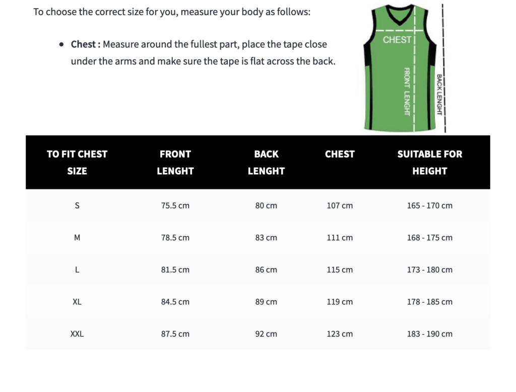 nba jersey size chart
